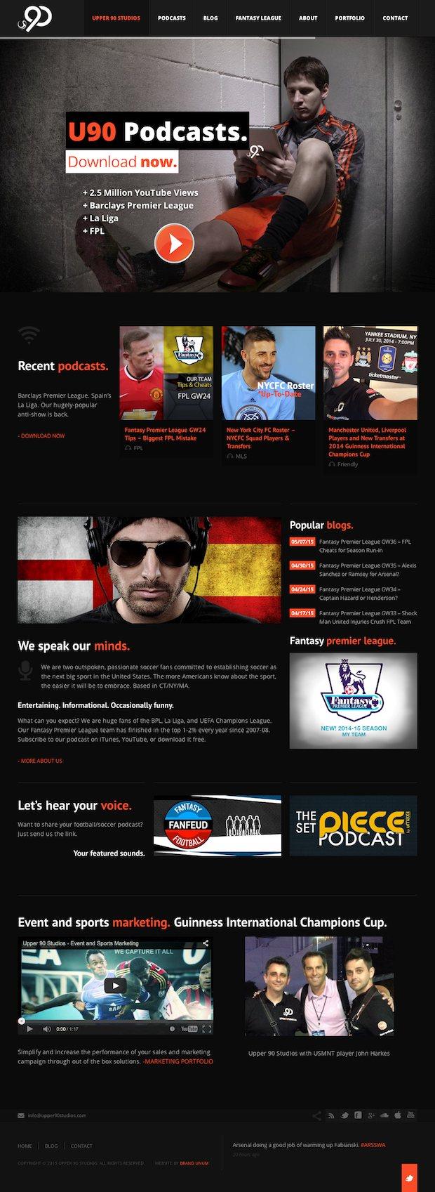 Brand Unum Portfolio - Upper 90 Studios Website